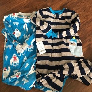 NWT Carter's fleece footed pajamas 2t winter theme